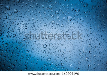 natural water drop on glass