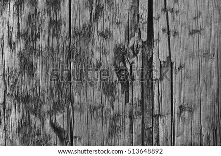 Natural Weathered Grey Tan Taupe Wooden Board, Cracked Ruined Rough Cut Sepia Wood Texture, Large Detailed Old Aged Gray Lumber Background Horizontal Macro Closeup, Textured Crack Pattern