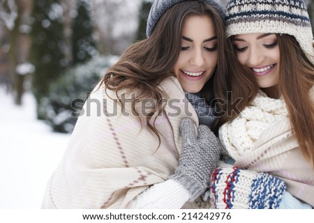 Natural woman under the blanket in winter time  - stock photo