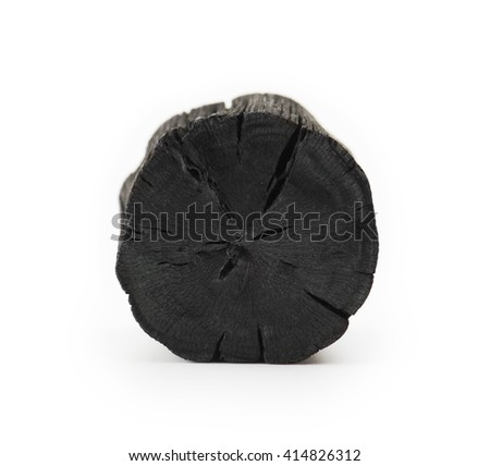 Natural wood charcoal, Isolated on white. Kishu binchotan, japanese traditional white charcoal or hard wood charcoal, isolated on white background?Front view of cross section.