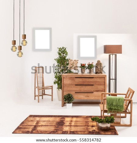 natural wood furniture white wall decor  modern lamp and frame. Wood Furniture Stock Images  Royalty Free Images   Vectors