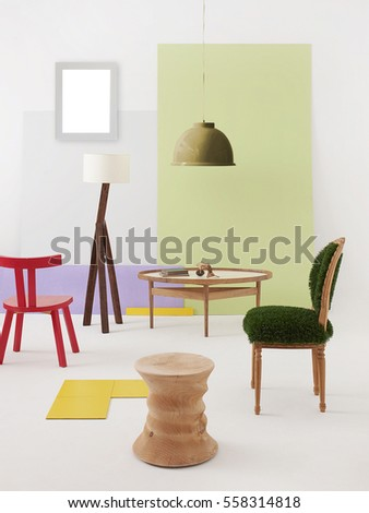 Natural Wood Furniture White Wall Decor Stock Photo 558314818 ...