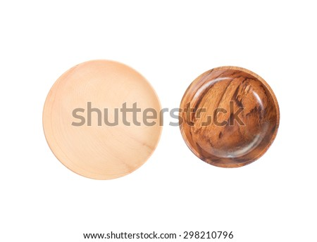 Natural wood plate isolated on white background - stock photo