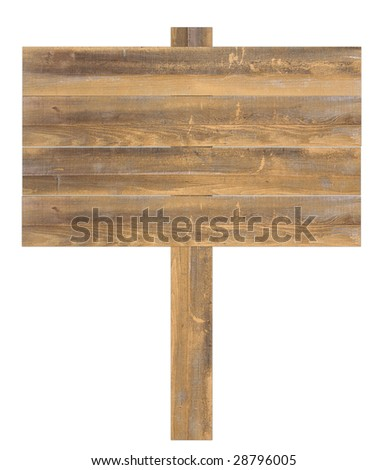 Natural wooden sign isolated on white background