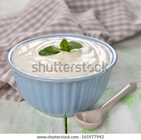 natural yoghurt  in a bowl on a white background - stock photo