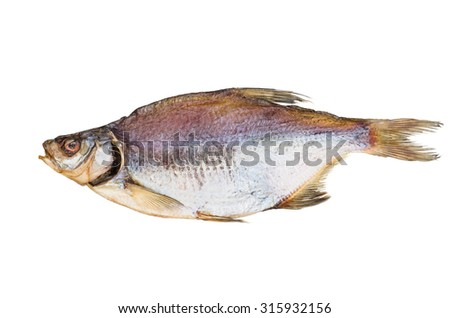 Naturally dried bream fish isolated on white background - stock photo