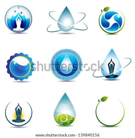 Nature and health care symbols. Isolated on a white background. Clean and bright design. - stock photo