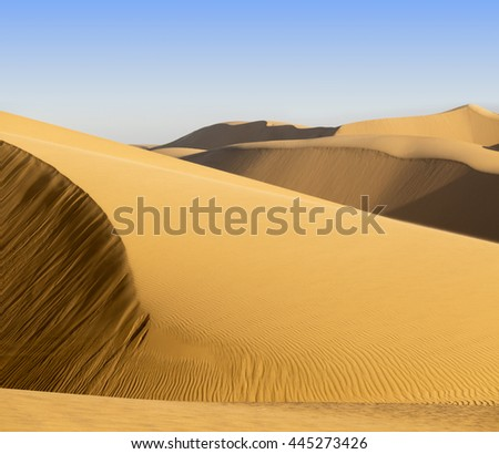 Nature and landscapes of desert. Tourism and active recreation in the Emirates. Jeep safari. - stock photo