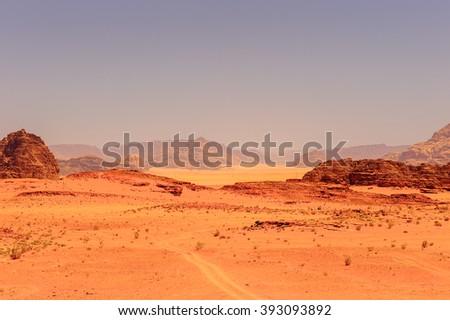 Nature and rocks of Wadi Rum (Valley of the Moon), Jordan. UNESCO World Heritage - stock photo