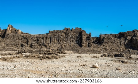 Nature and ruins around the Medinet Habu (Mortuary Temple of Ramesses III), West Bank of Luxor in Egypt.