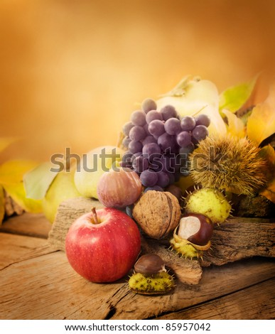 Nature background made of autumn fruit: chestnut, grapes, apple, walnut, pear, fig and quince - stock photo