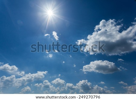 nature background. white clouds over blue sky - stock photo