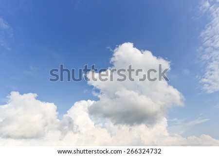 nature background. white clouds over blue sky soft focus. - stock photo