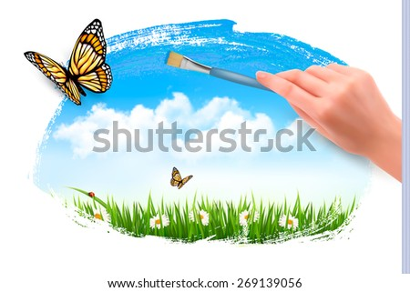 Nature background with butterflies and hand with brush.