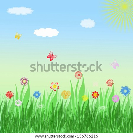 Nature Background with flowers and butterflies
