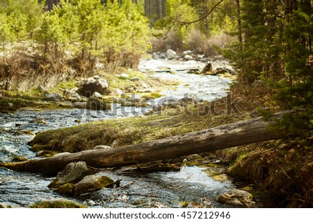 Nature background with mountain river landscape. Selective focus. - stock photo