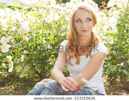 Nature beauty woman - stock photo