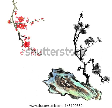 nature,Chinese element--plant,plum blossom and stone