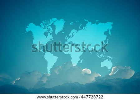 Nature cloudscape with blue sky and white cloud with world map , process in vintage style - stock photo