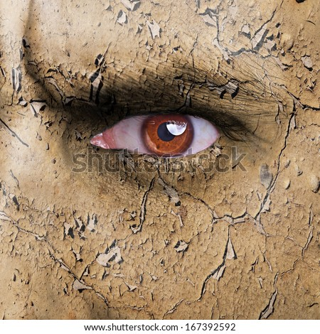 Nature concept - man face covered with cracked earth texture - symbol of dry skin - stock photo