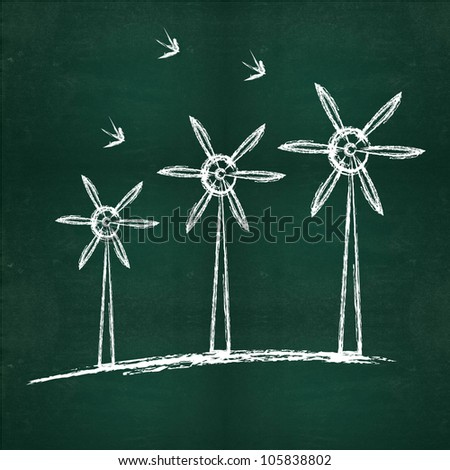 Nature energy drawing on blackboard background - stock photo