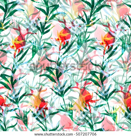 nature flowers and leaves colorful seamless pattern background