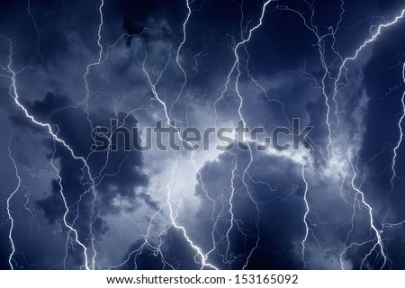 Nature force background - lightnings in dark stormy sky  - stock photo