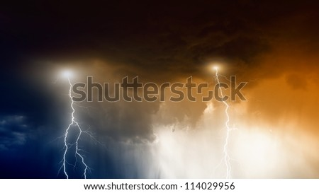Nature force background - lightnings in stormy sky with dark clouds and rain - stock photo