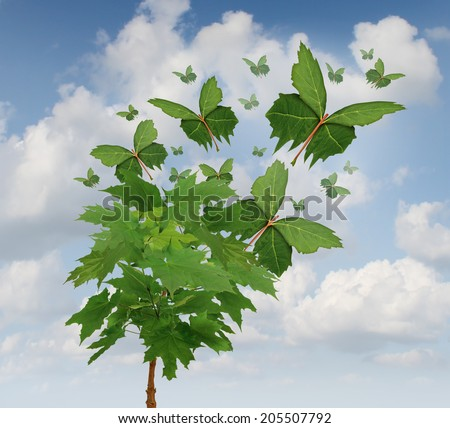 Nature freedom symbol as a growing tree with green leaves transforming into flying butterfly shapes as a metaphor for business exports and distribution or sustainable development of the environment. - stock photo