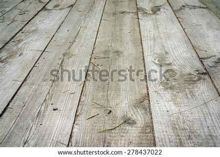 nature good perspective warm wooden outdoor floor with pine needles texture - stock photo