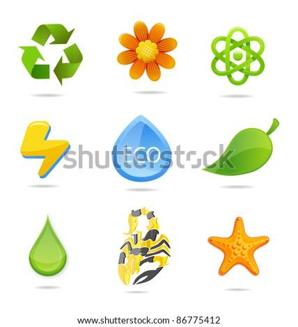 nature green symbols - stock photo