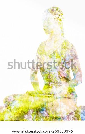 Nature harmony healthy lifestyle concept - double exposure image of  woman doing yoga Lotus Position (padmasana with bhairava mudra) pose exercise cross-legged sitting asana for meditation isolated  - stock photo
