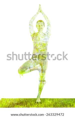 Nature harmony healthy lifestyle concept - double exposure image of  woman doing yoga Tree pose asana (Vrikshasana) exercise isolated on white background - stock photo