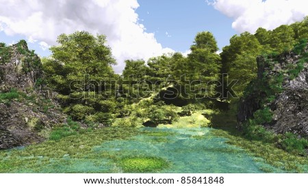 Nature illustration graphic art 3D - stock photo