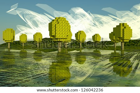 nature in computerized, day and leaves of the squares - stock photo
