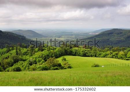 Nature in the village Vysoka - background town Levice, Slovakia - stock photo