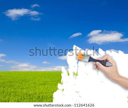 Nature landscape and brushes - stock photo