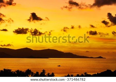 Nature Landscape. Scenic View Of Tropical Island Coast During Orange Sunset Over Sea With Beautiful Sky And Clouds. Scenery Background. Coastline. Travel On Summer Vacations To Thailand. Tourism