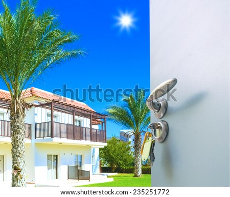 nature landscape with  view through  window with curtains - stock photo