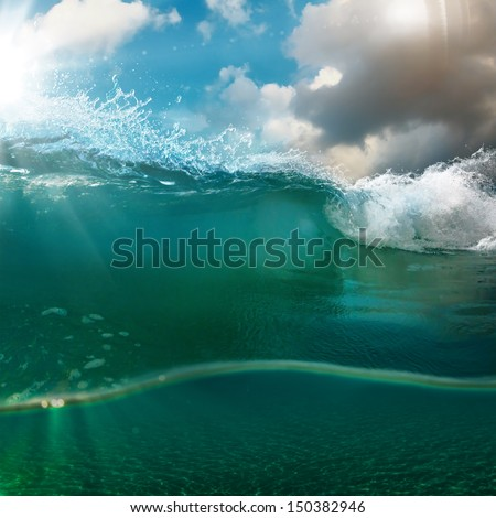 nature marine postcard design - beautiful colored breaking surfing ocean wave rolling down at sunset time - stock photo