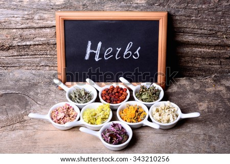 Nature medicine . Herbs & chalk board with text on wooden background . - stock photo