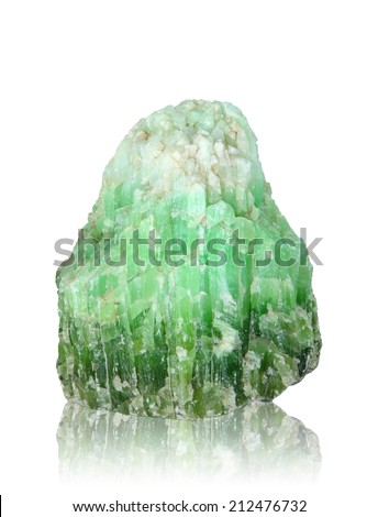 Nature mineral of jade stone on white background, clipping path. - stock photo