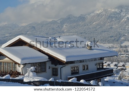 nature mountaint winter landscape with tree and fresh snow - stock photo