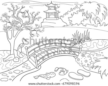 nature of japan coloring book for children cartoon japanese garden raster illustration zentangle style - Japanese Coloring Book