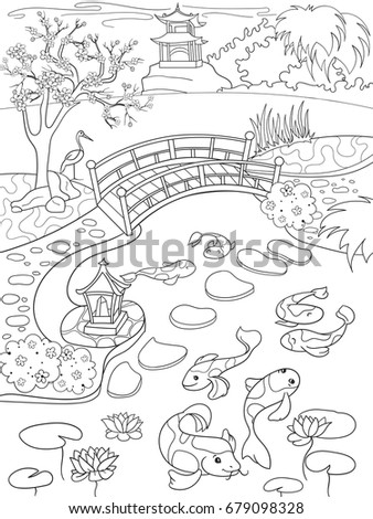 Nature Japan Coloring Book Children Cartoon Stock Illustration ...