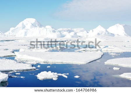 Nature of the south pole. Antarctic landscape.