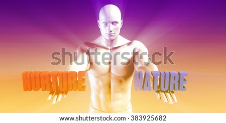 Nature or Nurture as a Versus Choice of Different Belief - stock photo