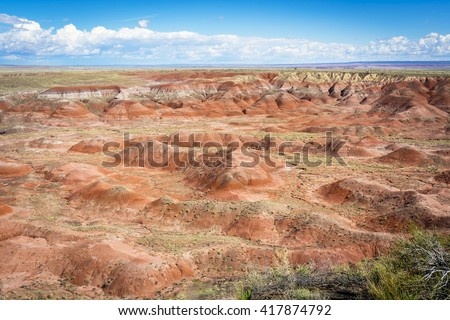 Nature Painted Desert, Petrified Forest National Park, Arizona, USA amazing nature of desert in the US national park with colorful sand and mountain for nature traveler and amazing US travel scenery. - stock photo