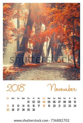 nature photo calendar with beautiful minimalist landscape 2018 november