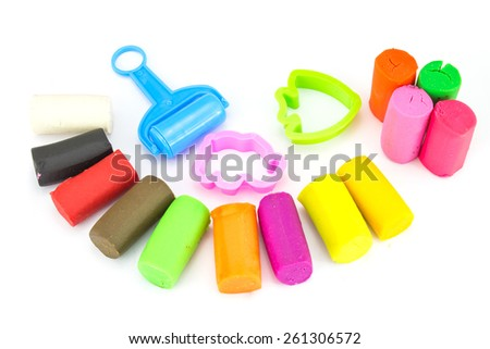 Nature Plasticine play dough modeling clay isolated over white - stock photo